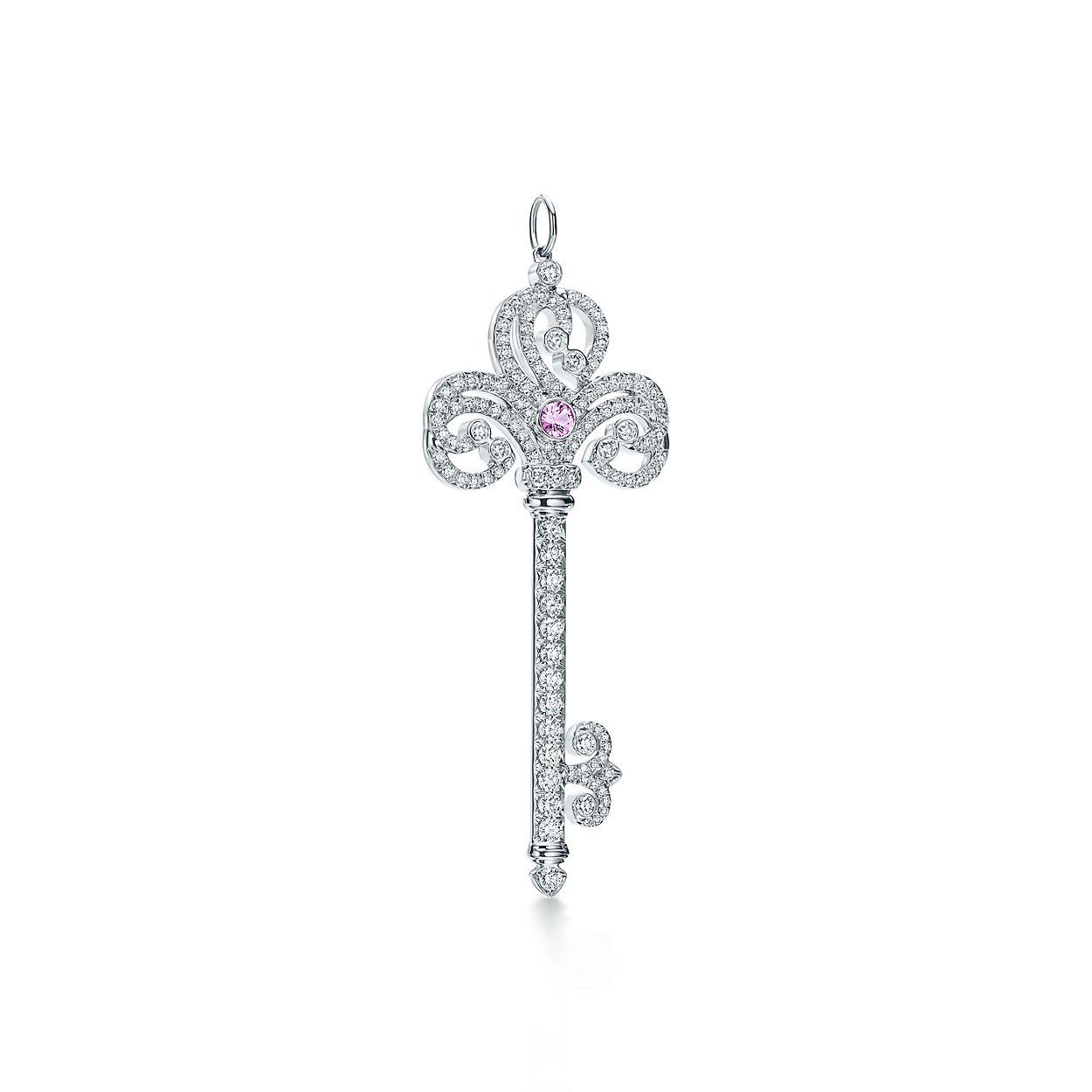 Tiffany keys enchant heart key pendant in platinum with gemstones tiffany keysenchant heart keybrpendant aloadofball Gallery