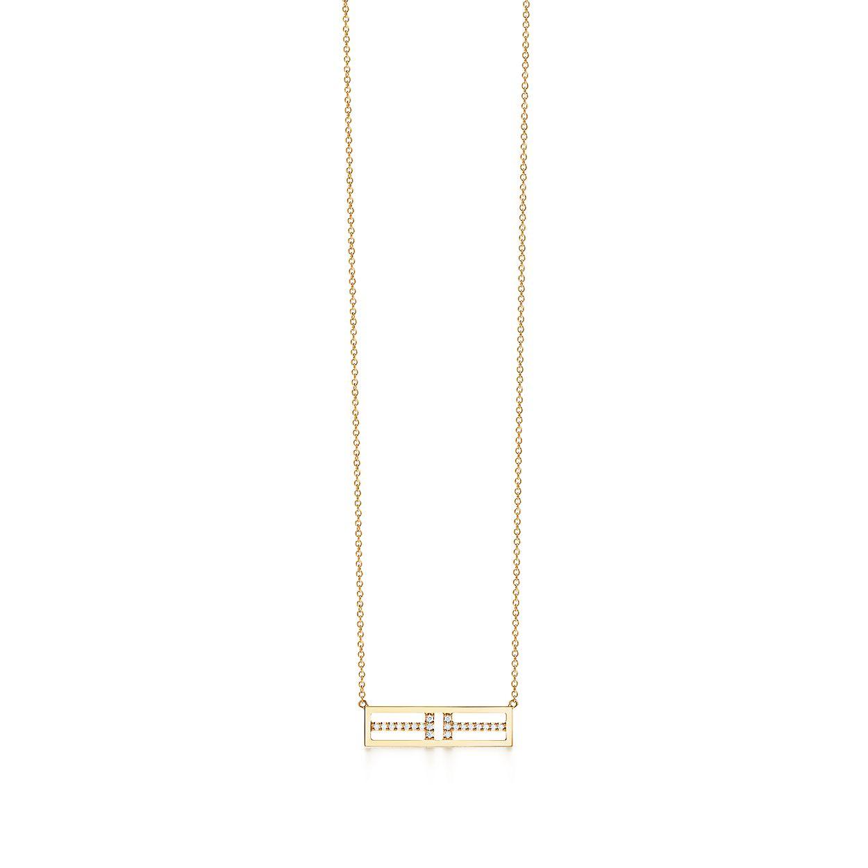 Tiffany t two open horizontal bar pendant in 18k gold with diamonds tiffany ttwo open horizontalbrbar pendant aloadofball Images