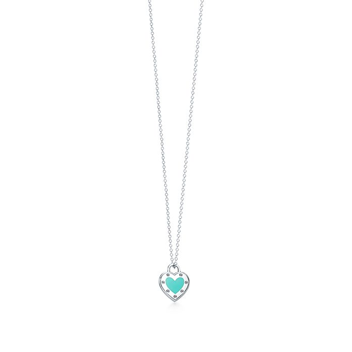 19eb641c0e8ea Return to Tiffany™ Love heart pendant in silver with enamel finish ...