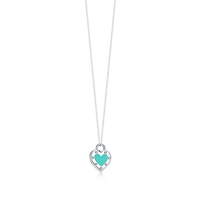 be45b15b4 Return to Tiffany® Love heart pendant in silver with enamel finish ...