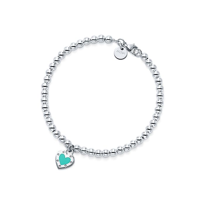 a9a96aeca Return to Tiffany™ Love heart bead bracelet in silver with enamel ...