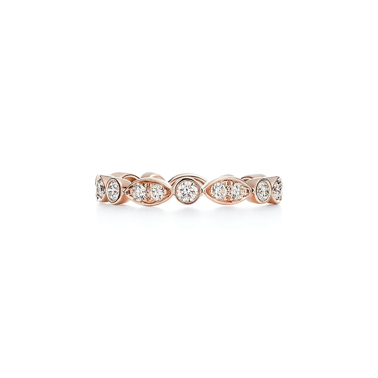 Tiffany Jazz Band Ring In 18k Rose Gold With Diamonds Tiffany Co
