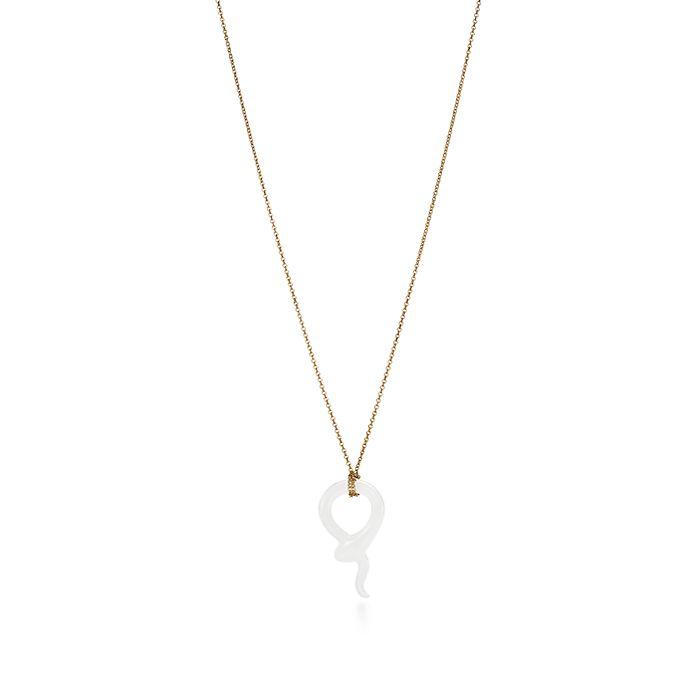 97bcf049d Elsa Peretti® Snake pendant of white jade with 18k gold. | Tiffany & Co.