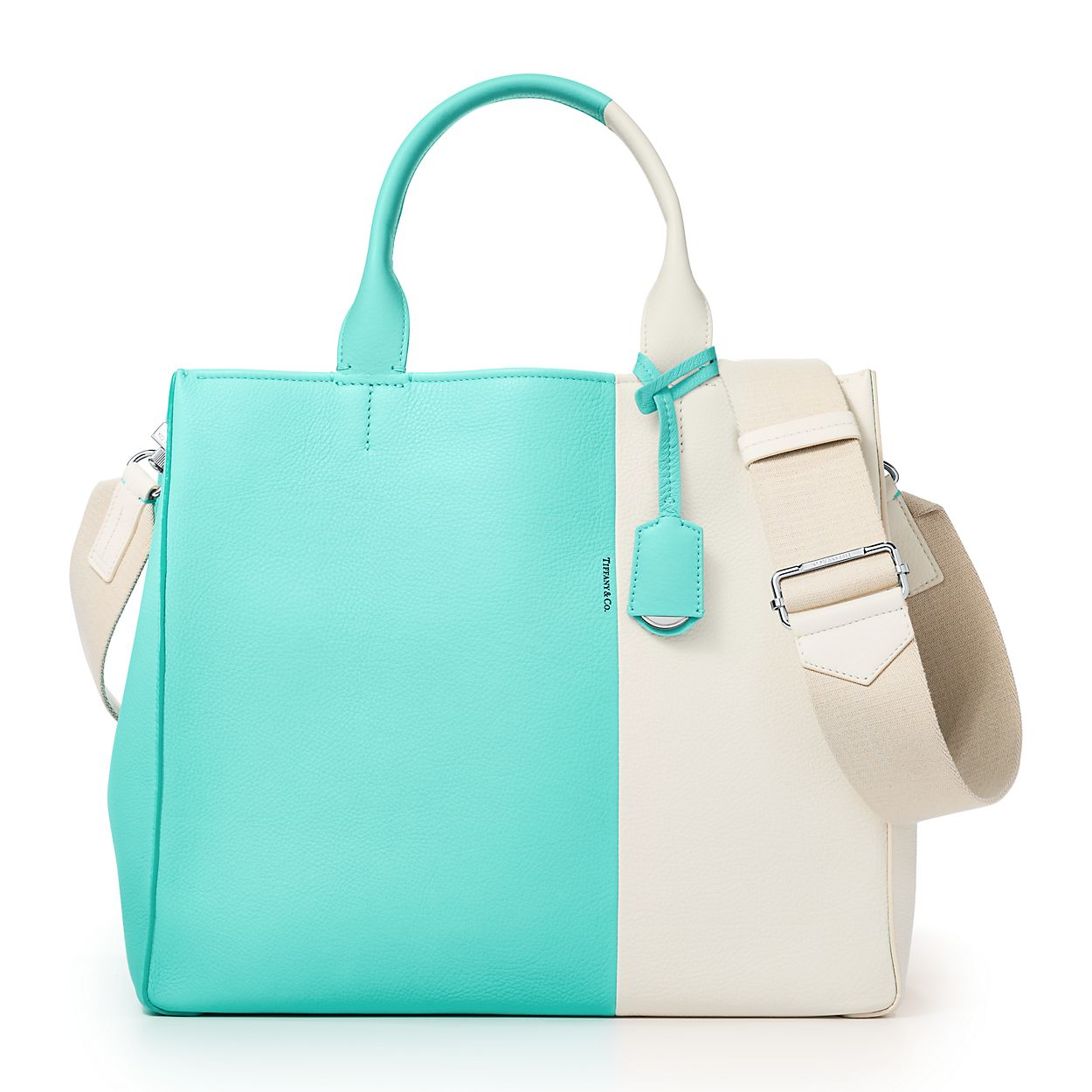 color block women s tote in off white and tiffany blue grain