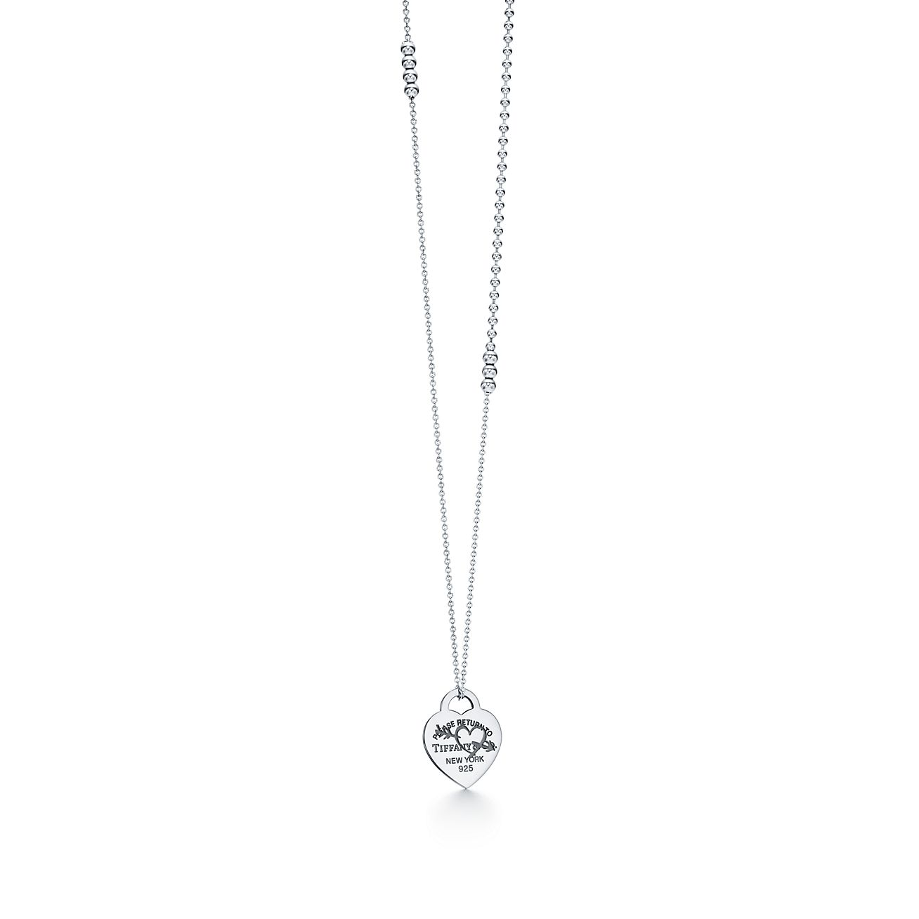 Return to Tiffany Etched heart and arrow pendant in sterling silver, large Tiffany & Co.