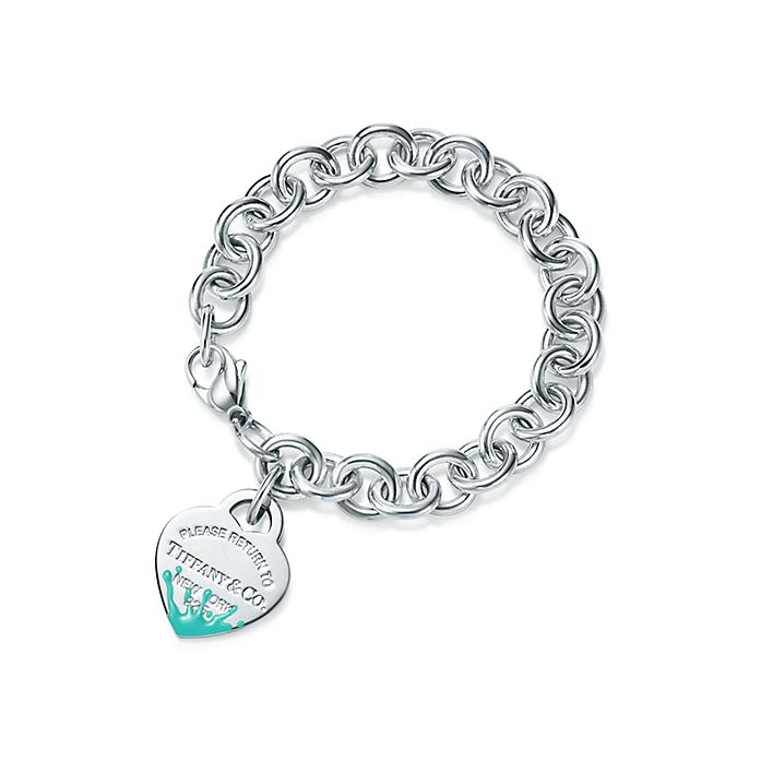 c6afe7df5 Return to Tiffany® Color Splash heart tag bracelet in sterling ...