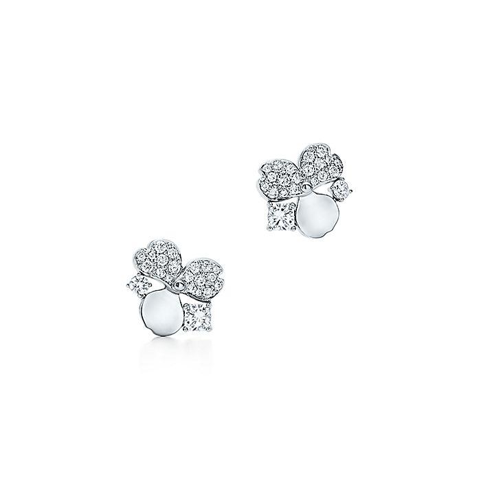 d019bbe13 Tiffany Paper Flowers™ diamond cluster earrings in platinum ...
