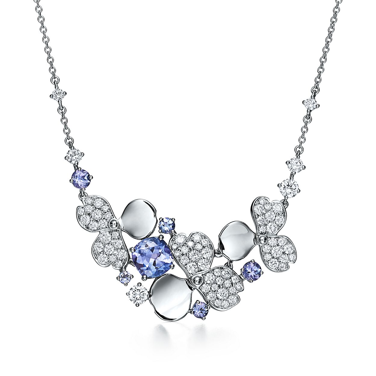 Tiffany Paper Flowers Diamond And Tanzanite Cluster Necklace In