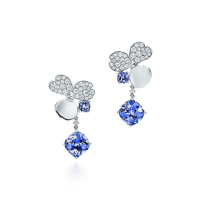 Diamond And Tanzanite Flower Drop Earrings