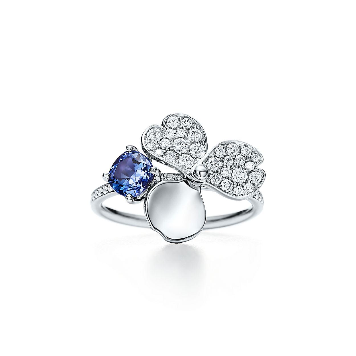 Tiffany paper flowers diamond and tanzanite flower ring in platinum tiffany paper flowersdiamond and tanzanitebrflower ring izmirmasajfo