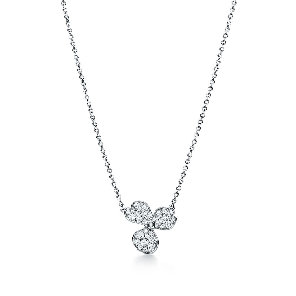 Tiffany paper flowers pav diamond flower pendant in platinum tiffany paper flowerspav diamond flower pendant mightylinksfo