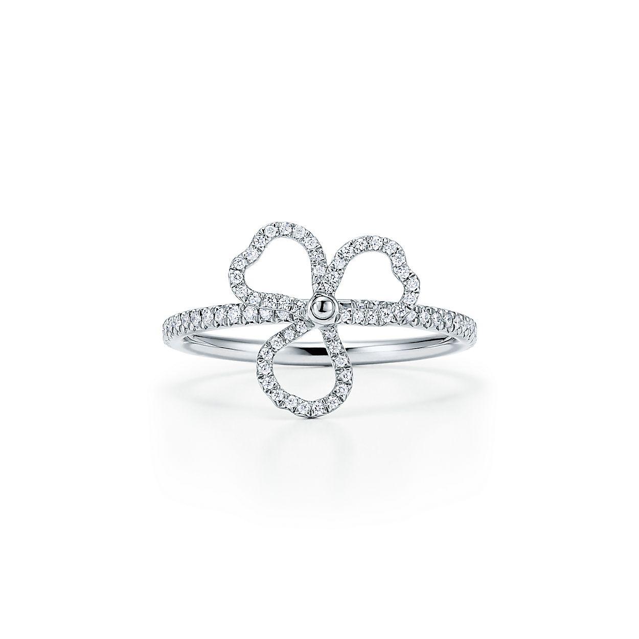 Tiffany Paper Flowers Diamond Open Flower Ring In Platinum