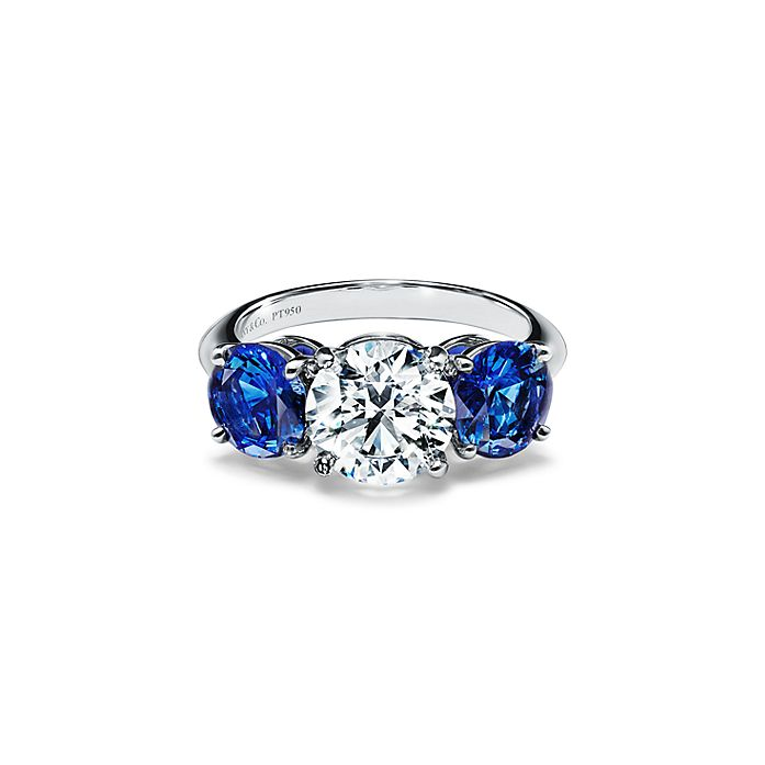 4b3bf39737eb4 Tiffany Three Stone Engagement Ring with Sapphire Side Stones in Platinum