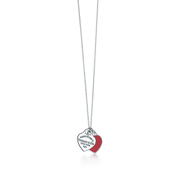 312afb0f64b6 Return to Tiffany® double heart pendant in silver with red enamel ...