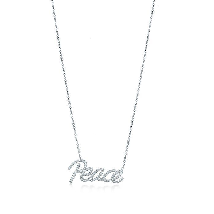 e266f90d4 Paloma's Graffiti peace pendant in 18k white gold with diamonds ...