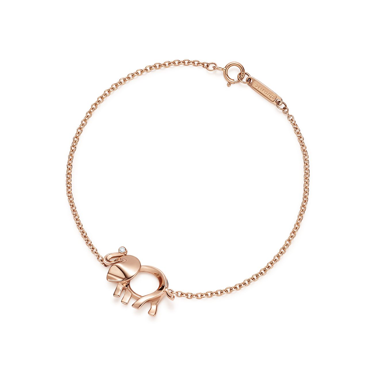 Tiffany Save the Wild elephant charm bracelet in 18k rose gold with a diamond - Size Medium Tiffany & Co.