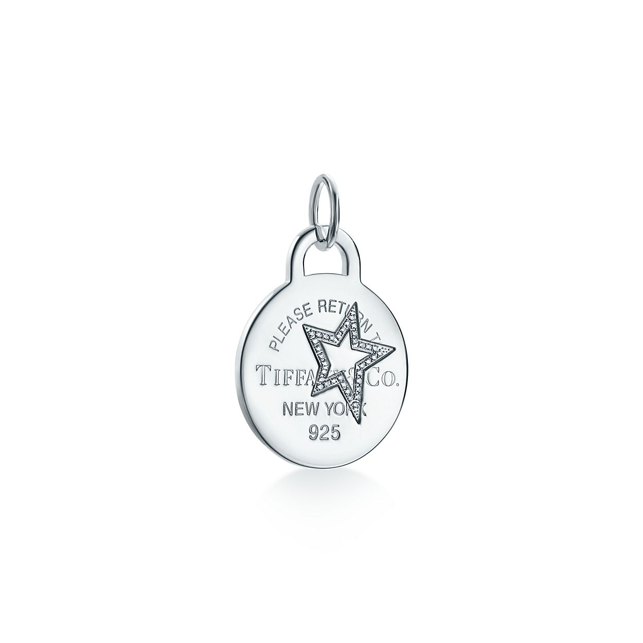 Return to Tiffany Etched star round tag charm in sterling silver, large - Size Star Tiffany & Co.