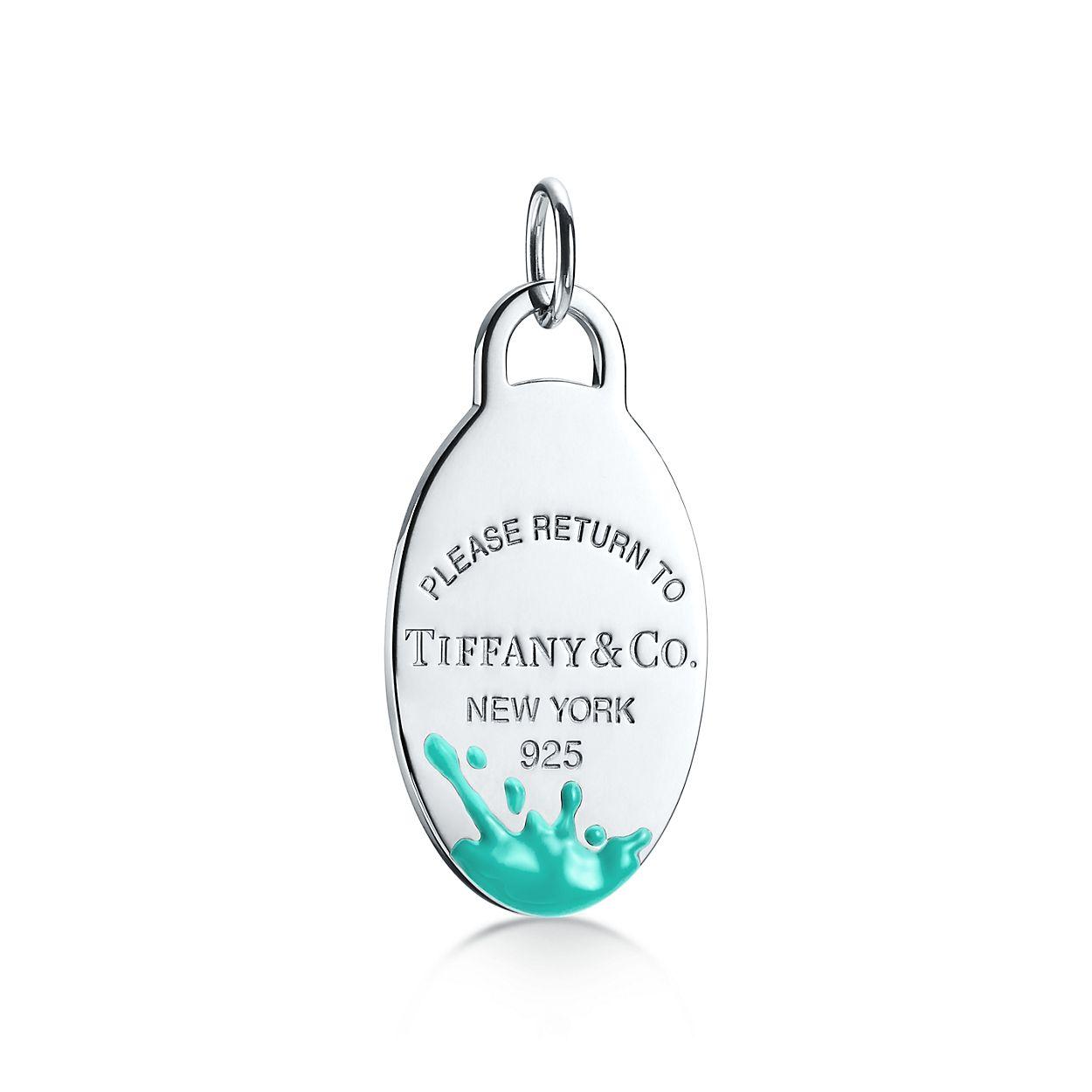 Retour À La Couleur Tiffany Éclaboussures Pendentif En Argent Sterling, Grande Tiffany & Co.