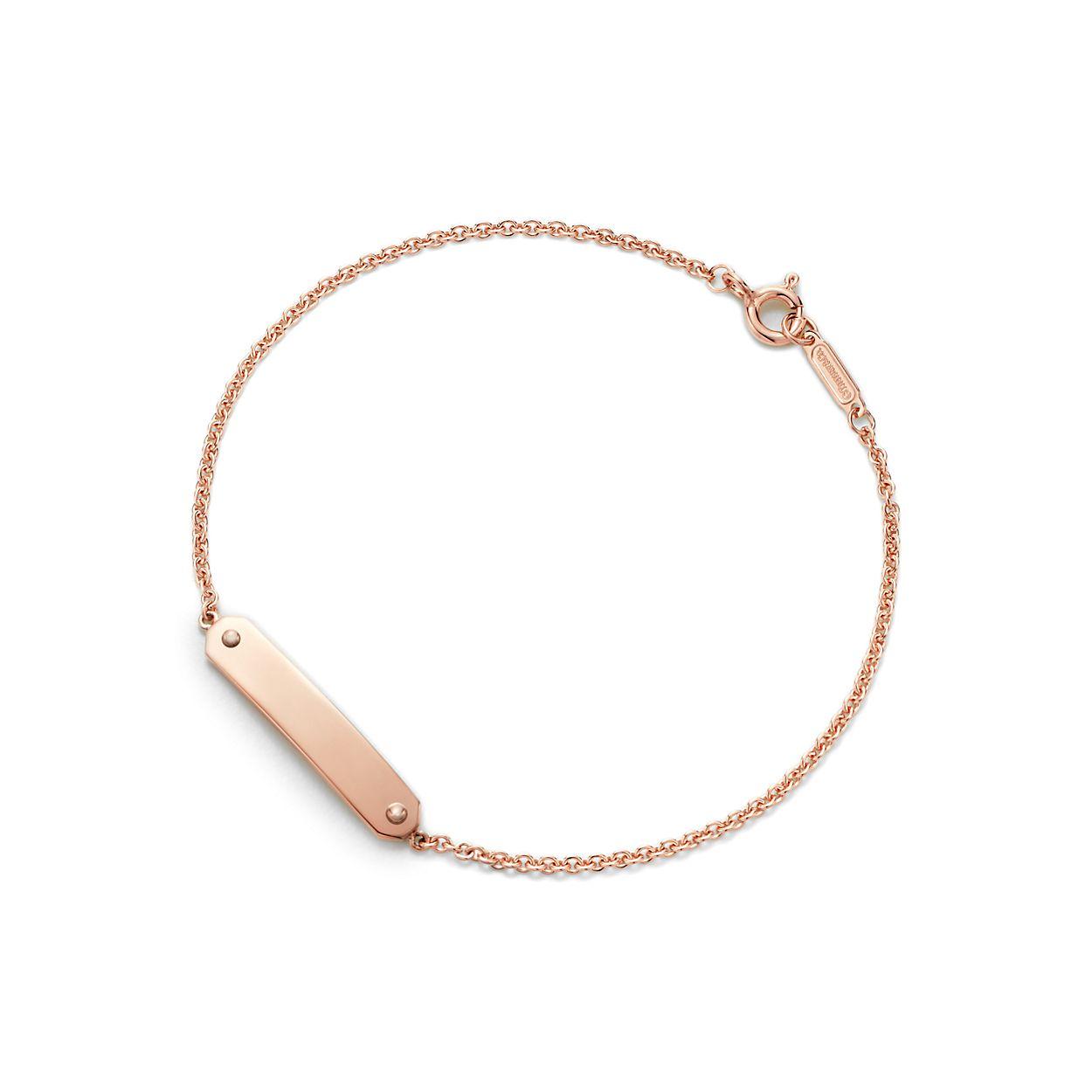 Bracelet chaîne à plaque en or rose 18 carats, moyen.   Tiffany   Co. d40ef1523a99