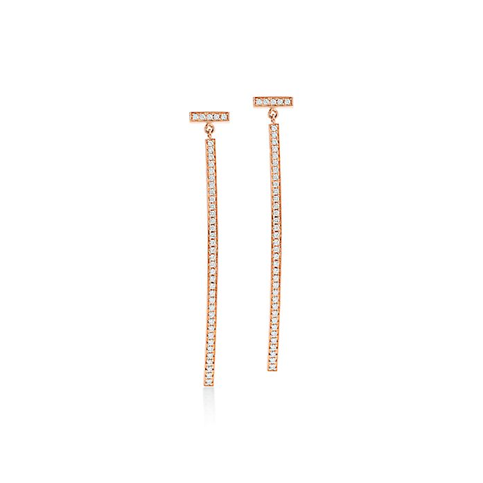 b46c6b18b Tiffany T wire bar earrings in 18k rose gold with diamonds ...