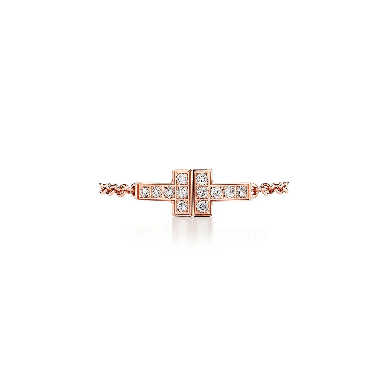 Bague chaîne Two Tiffany T en or rose 18 carats avec diamants ... c1ae64694fdc