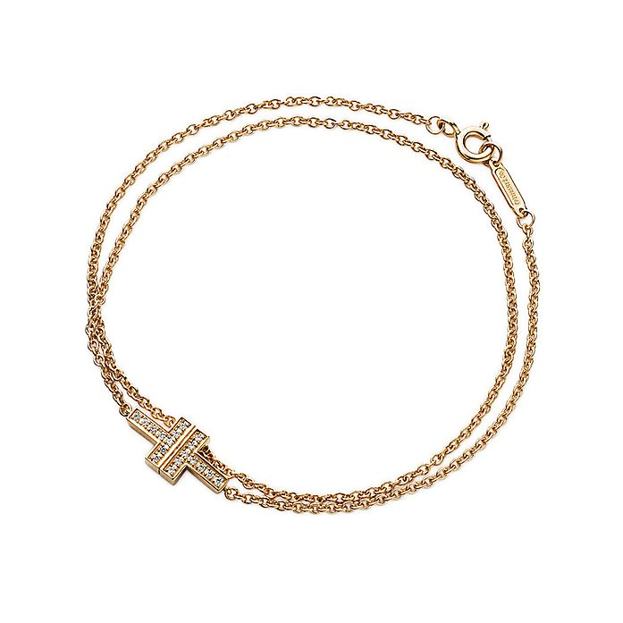 567b41cb3 Tiffany T Two double chain bracelet in 18k gold with diamonds ...