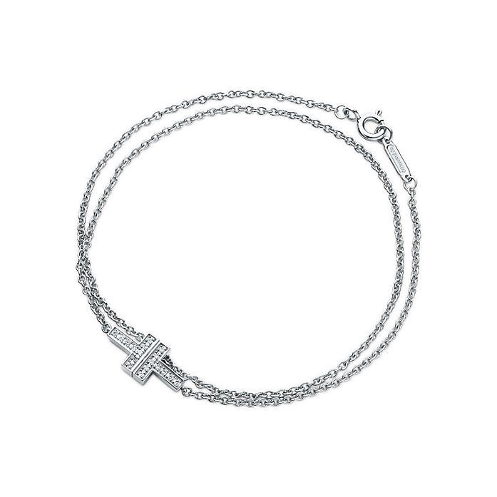 87cbfa6a7705 Tiffany T Two double chain bracelet in 18k white gold with diamonds ...