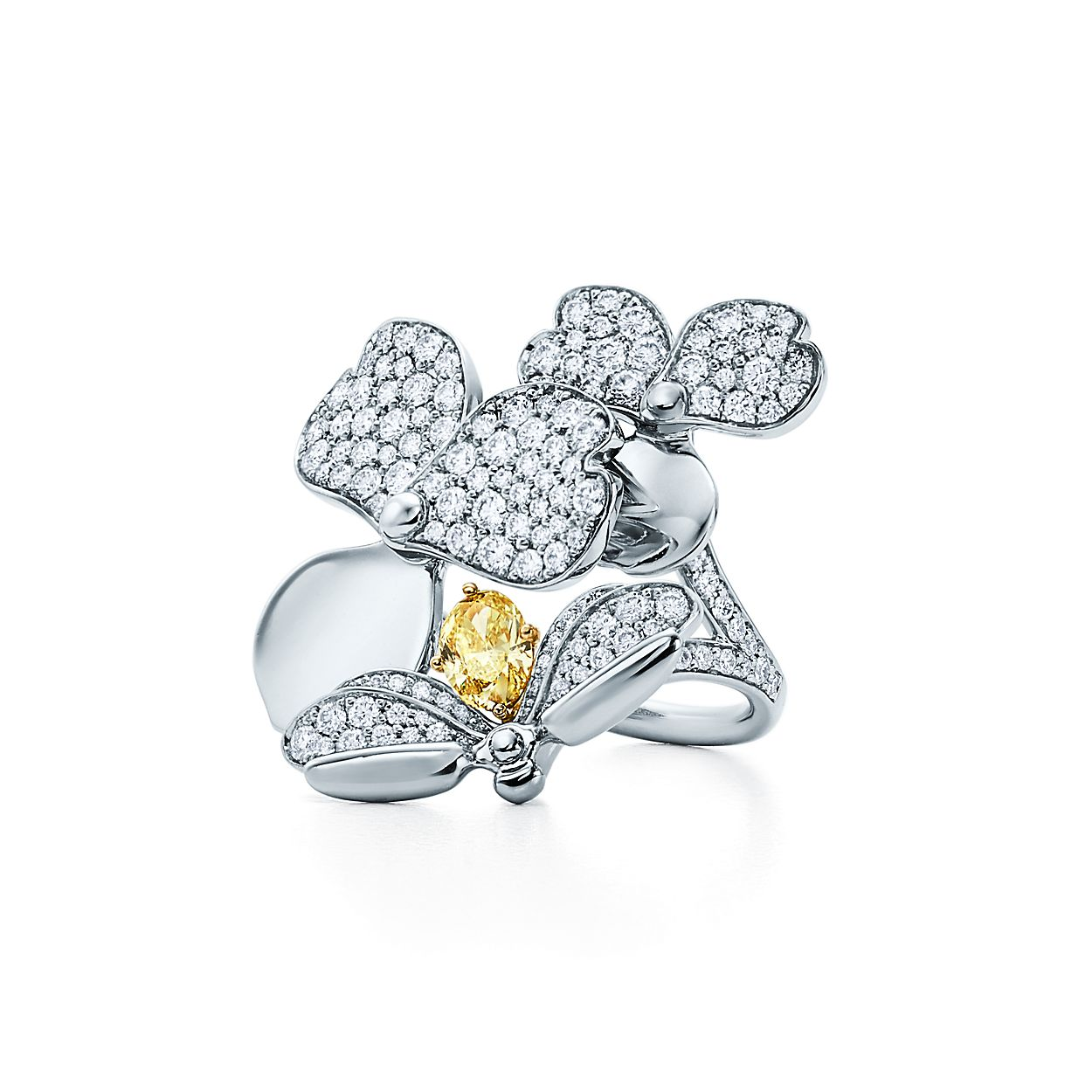 Tiffany Paper Flowers Yellow Diamond Firefly Ring In Platinum