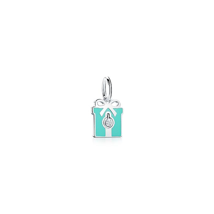 322fef0291 Tiffany Charms diamond box charm in sterling silver with blue enamel ...