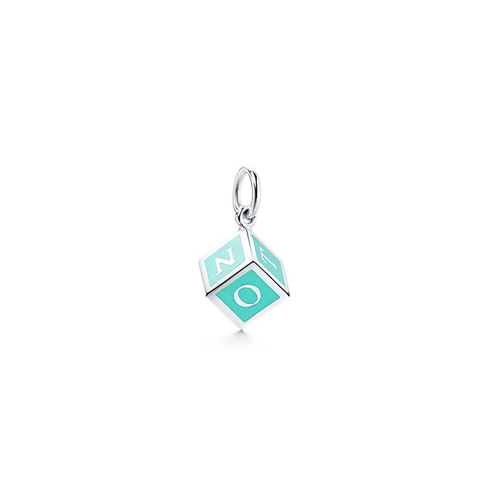 676d213eba Tiffany Charms T&CO. NY block charm in sterling silver with blue ...