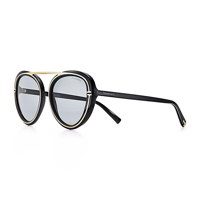 0c65b20411e9 Tiffany T aviator sunglasses in black acetate and pale gold-coloured ...