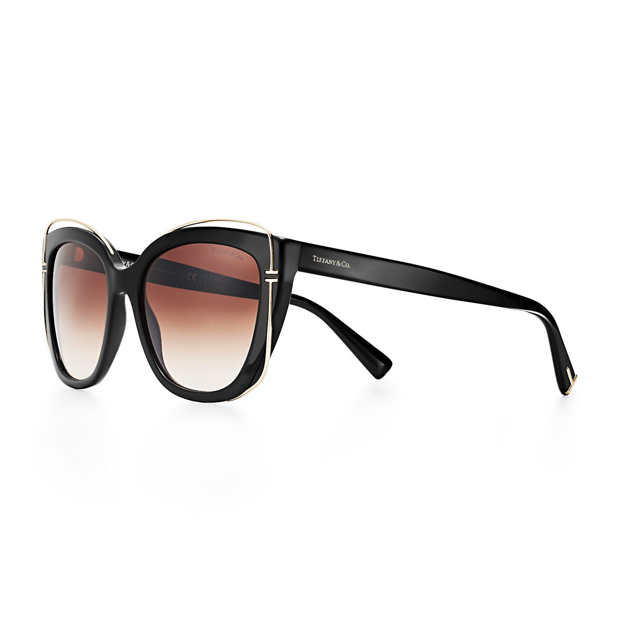 f22b488405282 Tiffany T cat eye sunglasses in black acetate and pale gold-colored ...
