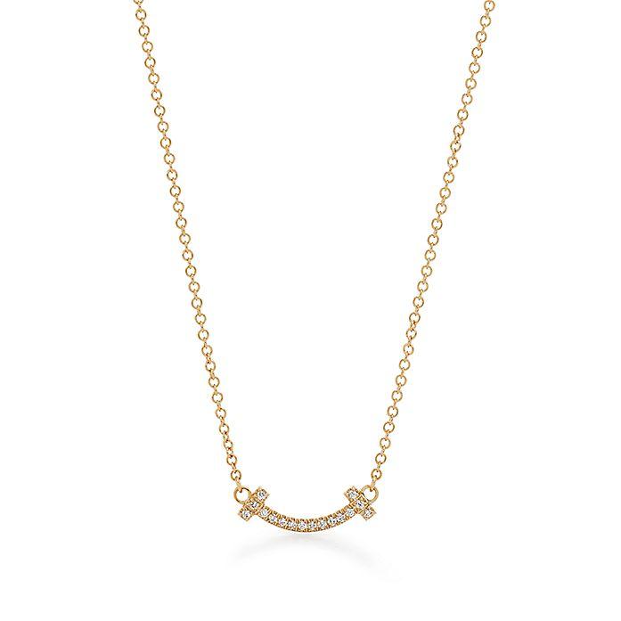 f3f50fdb47a42 Tiffany T smile pendant in 18k gold with diamonds