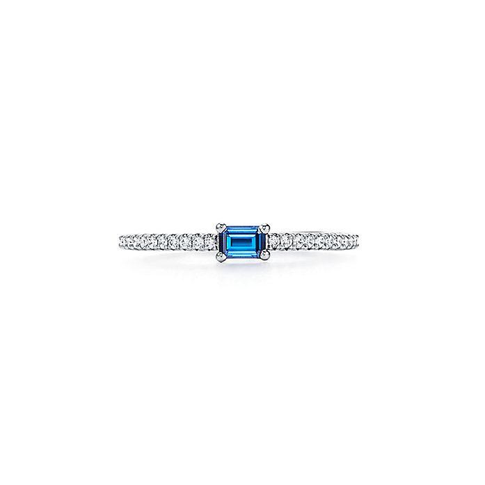 b90486196 Tiffany Novo® Horizon ring in platinum with a sapphire and diamonds ...