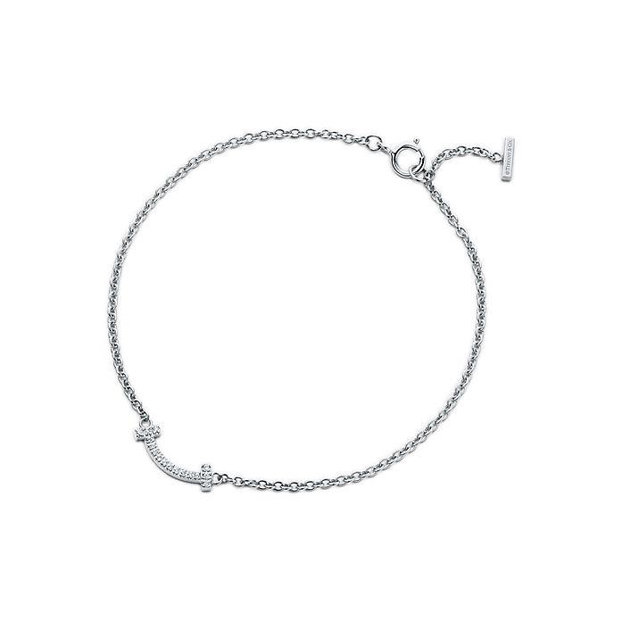 b516a8431 Tiffany T smile bracelet in 18k white gold with diamonds, medium ...