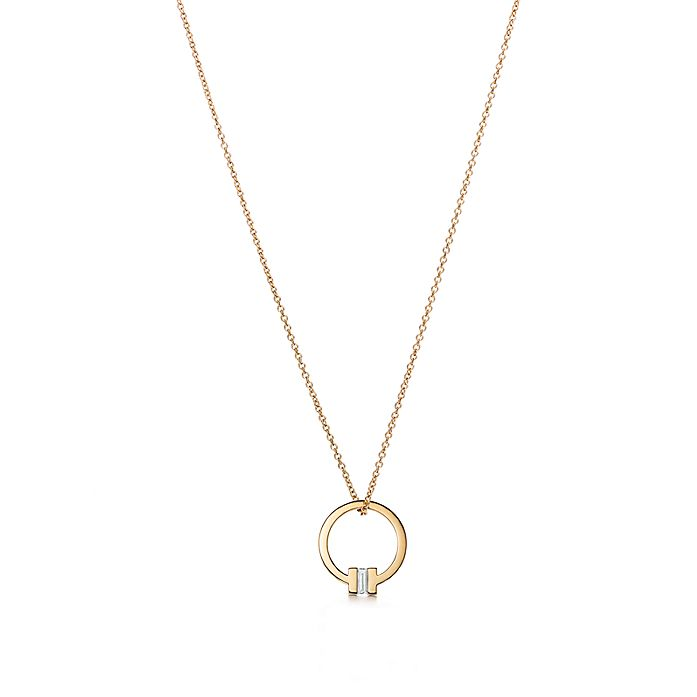 21c5054a9 Tiffany T square pendant in 18k gold with a baguette diamond ...