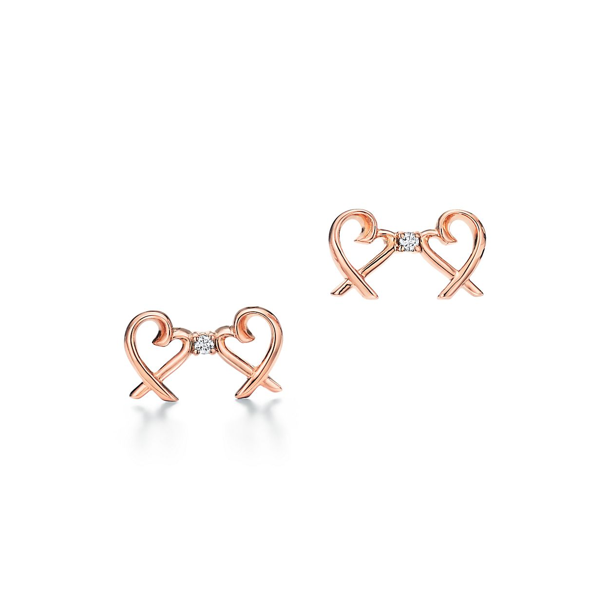 Paloma Picasso Double Loving Heart Earrings In 18k Rose Gold With