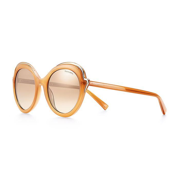 cf19ed1fb Tiffany Paper Flowers cat eye sunglasses in camel acetate.   Tiffany ...