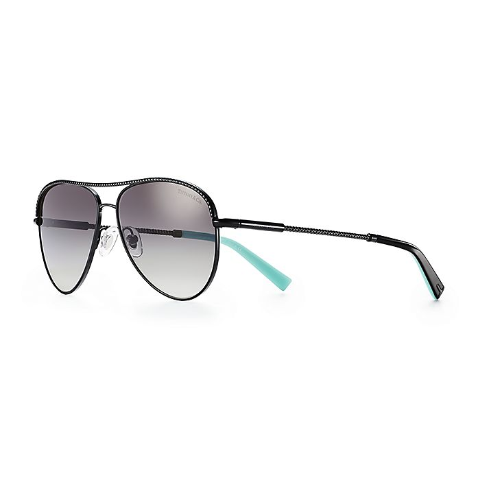 fded066be754 Diamond Point pilot sunglasses in black metal. | Tiffany & Co.