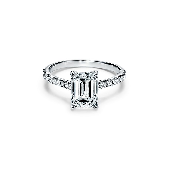 760590123e9a2 Tiffany Novo® Emerald-cut Engagement Ring with a Pavé Diamond Platinum Band