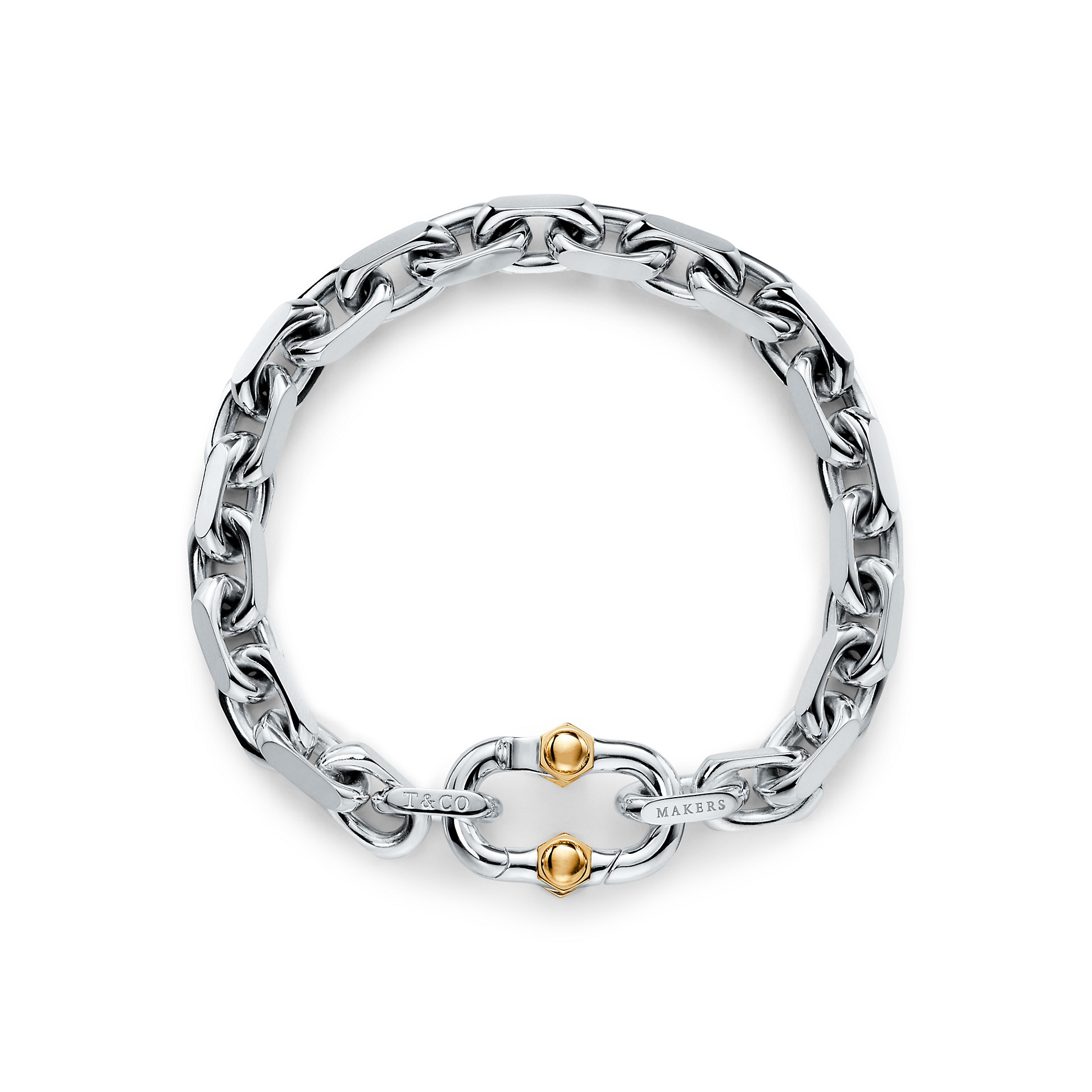 Tiffany 1837®        Makers Wide Chain Bracelet In Sterling Silver And 18k Gold by Tiffany 1837®