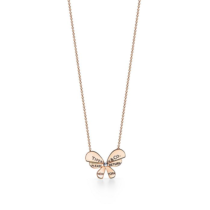 37ea651ce Return to Tiffany® Love Bugs:Butterfly Pendant in 18k Rose Gold and  Sterling Silver ...