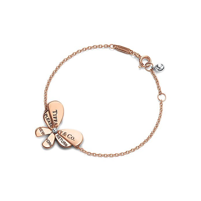 fb62cbce5 Return to Tiffany™ Love Bugs:Butterfly Chain Bracelet in 18k Rose Gold and  Sterling ...