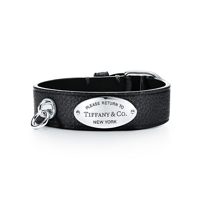 0e99bbc48 Return to Tiffany® wide leather bracelet in black with sterling ...