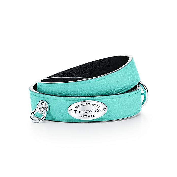 fb283c0306 Return to Tiffany® narrow leather wrap bracelet in Tiffany Blue ...