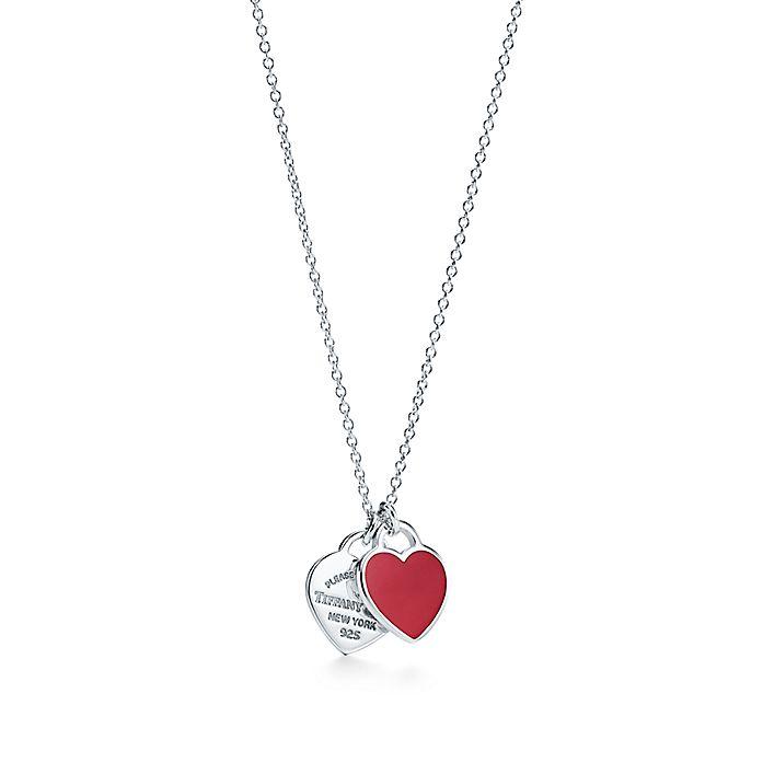 31e41809a8 Return to Tiffany® mini double heart tag pendant in silver with ...