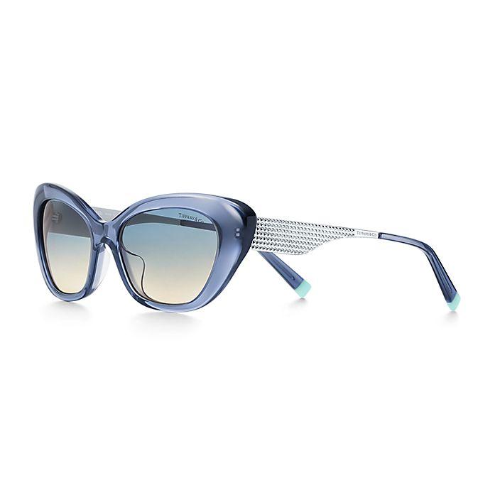 8fd383374 Óculos de sol estilo gatinho Diamond Point em acetato azul com metal ...