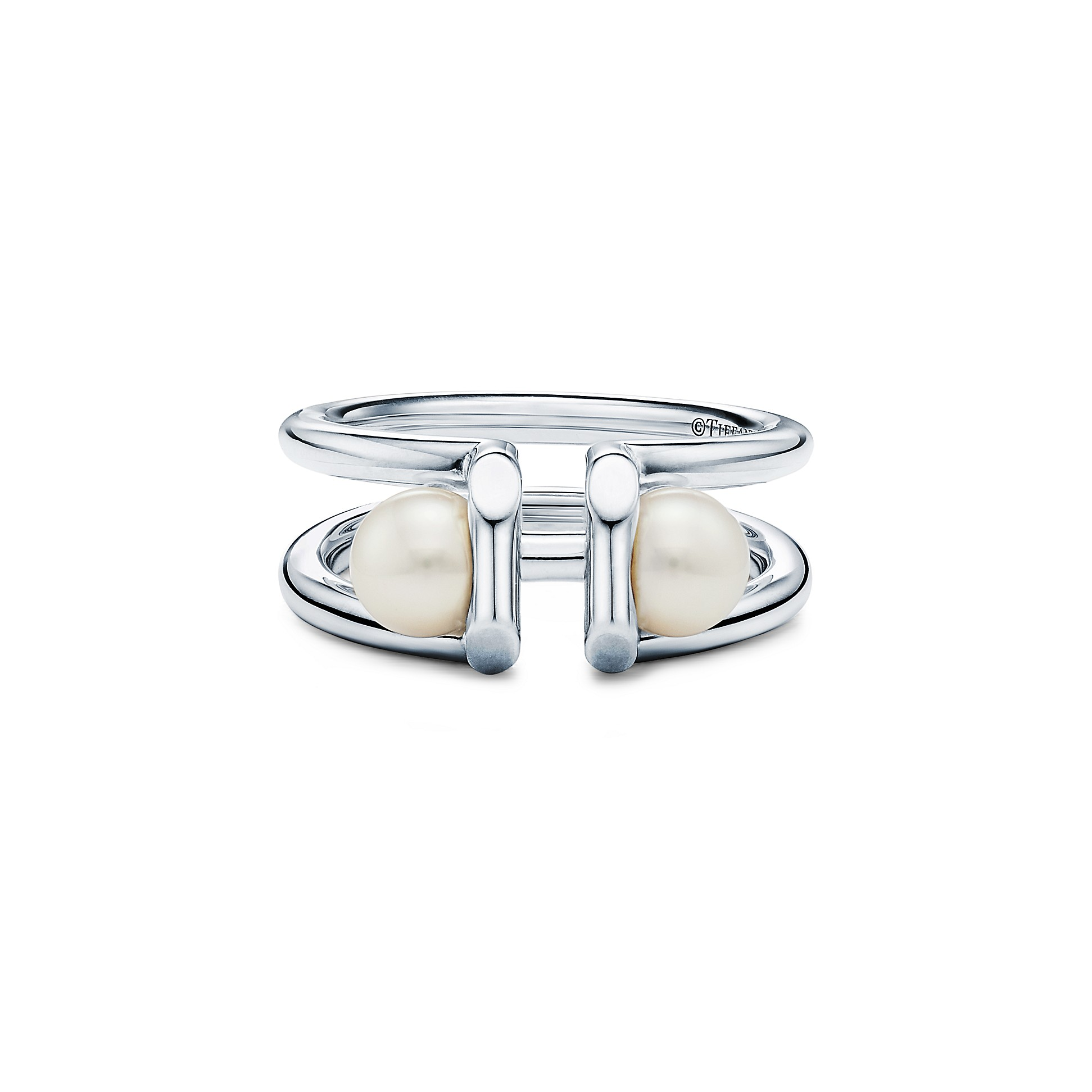 Tiffany Hard Wear        Double Pearl Ring In Sterling Silver by Tiffany Hardwear