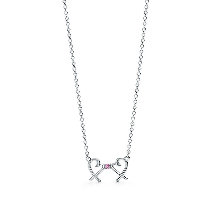 742961abf Paloma Picasso® Double Loving Heart pendant in silver with a pink ...
