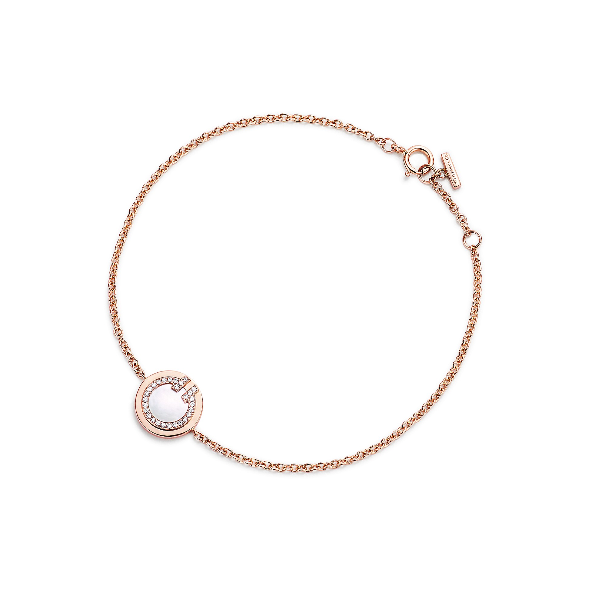 Tiffany T        Two Diamond And Mother Of Pearl Circle Bracelet In 18k Rose Gold by Tiffany T